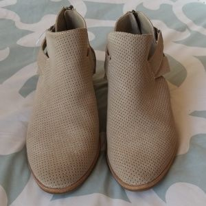 NWOT Dolce Vita taupe suede perforated booties